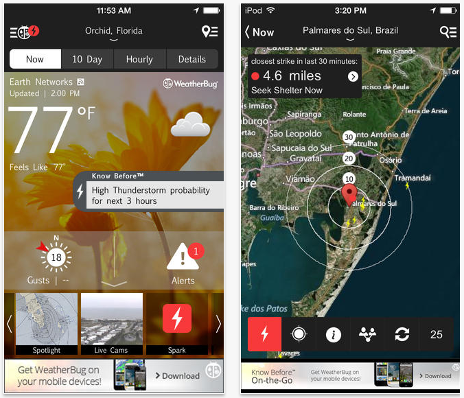WeatherBug vs Weather Underground detailed comparison as of