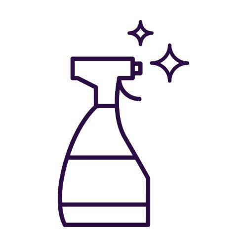 purple icon of cleaning spray bottle