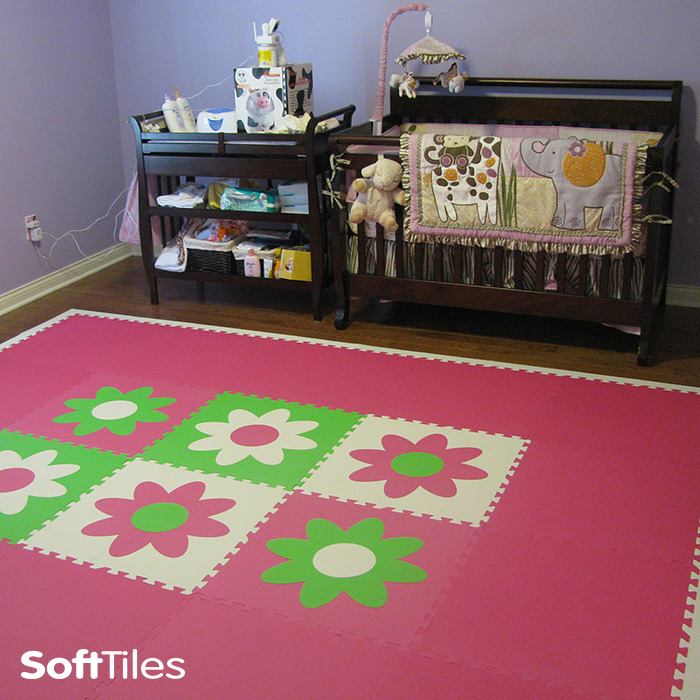 Nursery Room Floor Play Mat Using Softtiles Flower Mats In Pink Lime And White D106