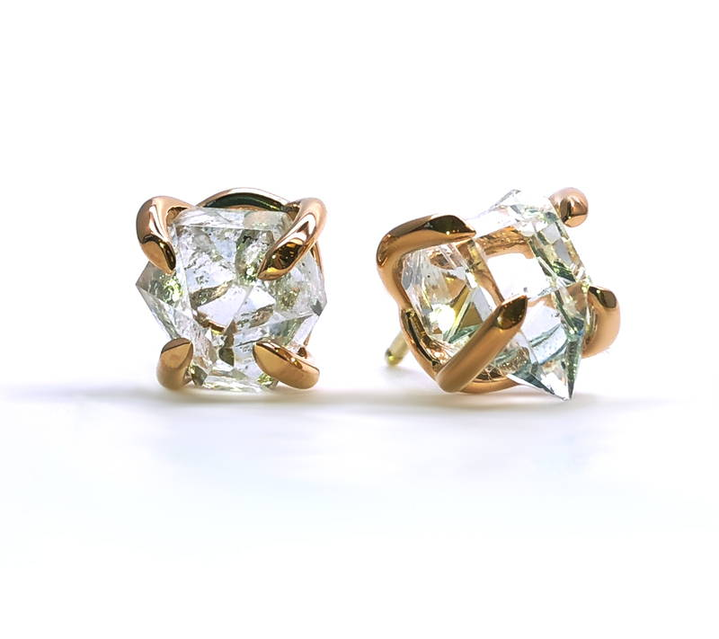 Quartz diamond Herkimer on gold earrings