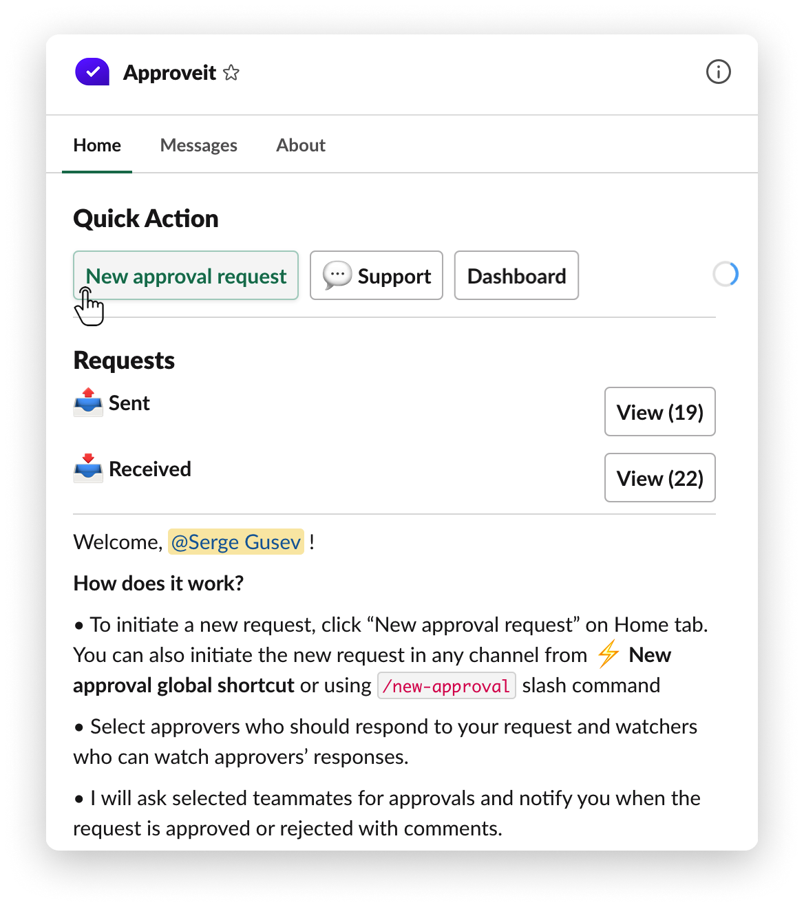 Select new approval request