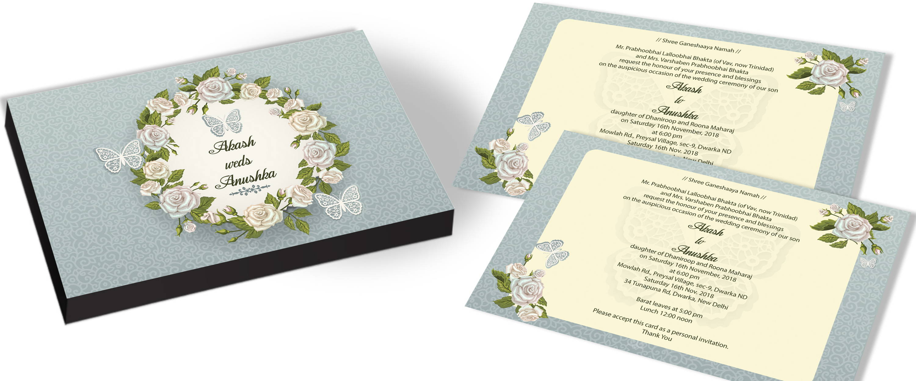 Floral Design for Wedding Invitations with Butterfly