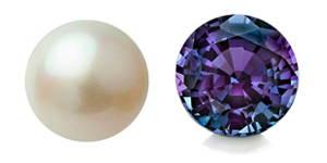 Perle blanche et alexandrite mauve taille rond