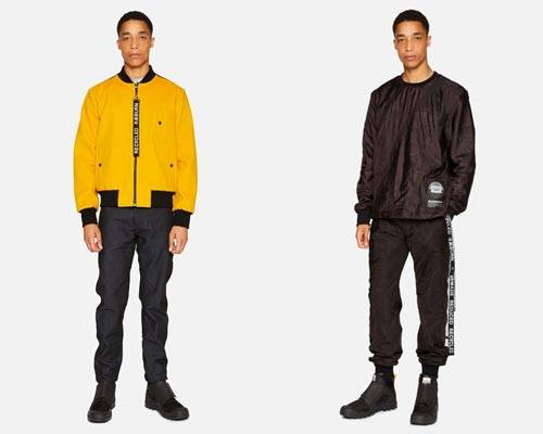 Man wearing recycled bright yellow woollen bomber jacket with black Raeburn branding and man wearing a black sweatshirt and matching sweatpants both made from recycled parachute material from sustainable menswear brand Raeburn