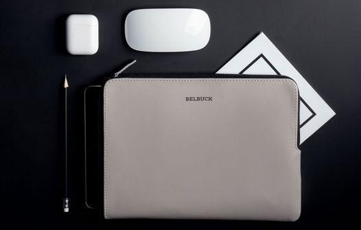 Чехол для планшета из натуральной кожи, модель Zipper Case. Gray