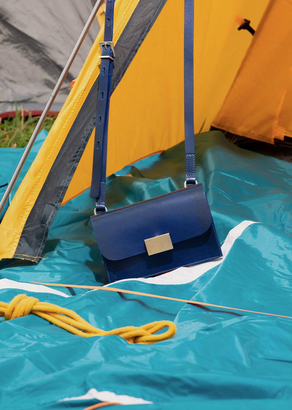 Mini Lock Boundary Leather Crossbody Lock Bag in Blue
