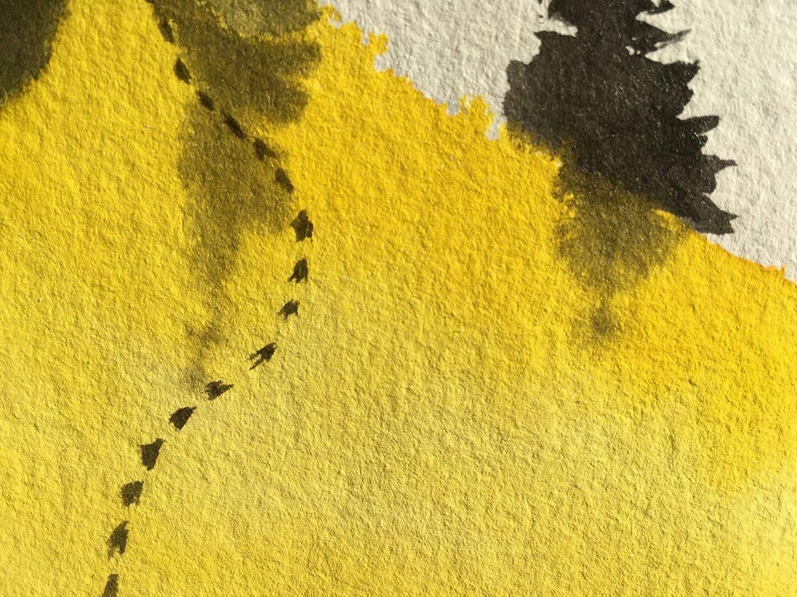 aquarelle jaune faite main, pour Beerscuit le biscuit apéro recyclé