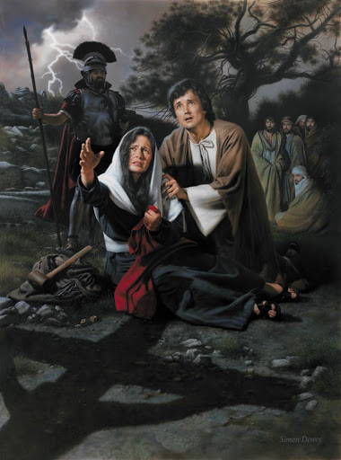 Painting of John and Mary kneeling at the cross.