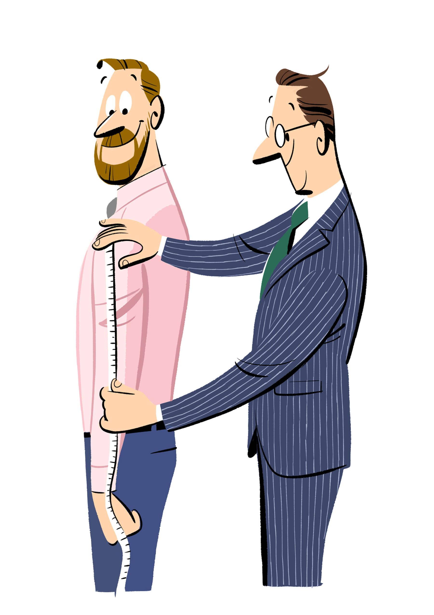 Illustration of man tailoring pink shirt