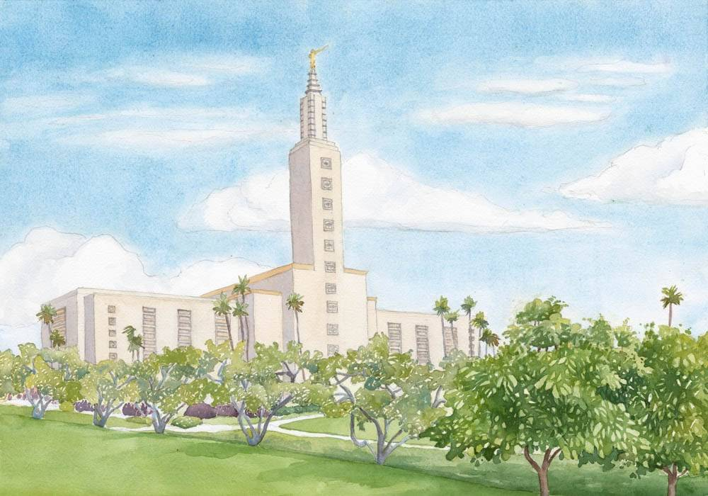 LDS art painting of the Los Angeles California Temple and surrounding grounds.