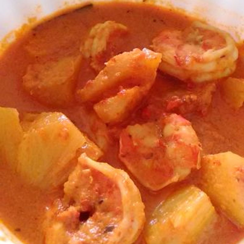 "Thanks Grace ,here sharing ""Curry Prawn with Pineapple"", it taste real good ! Everyone at home love it ! Have a wonderful Day there"