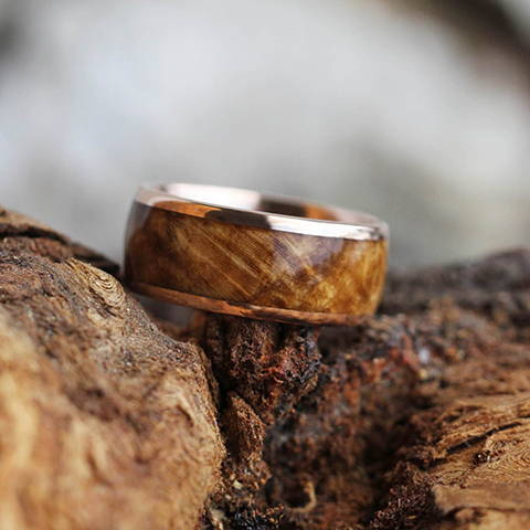 rose gold ring black ash burl wood