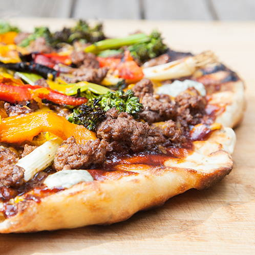 GRILLED BBQ BEEF PIZZA WITH GRILLED VEGGIES