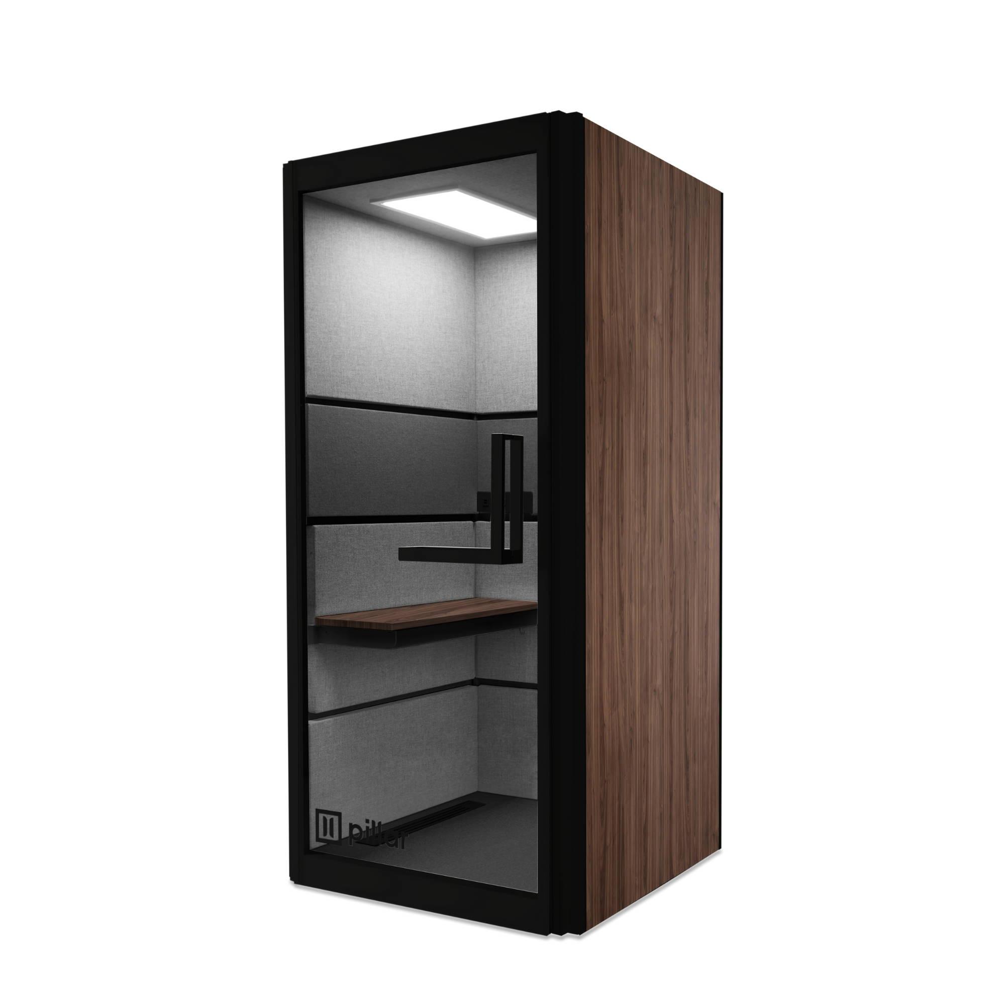 pillar booth black and walnut
