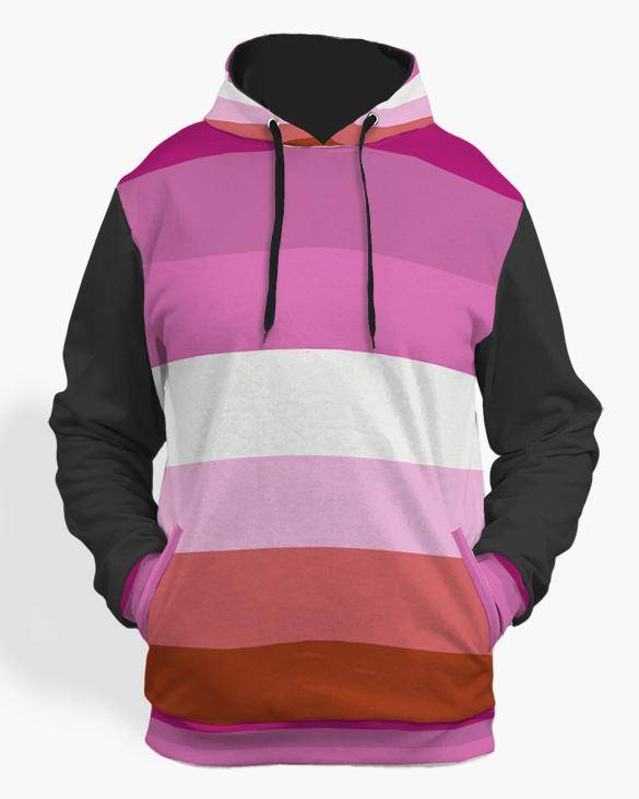 lesbian pride hoodie black