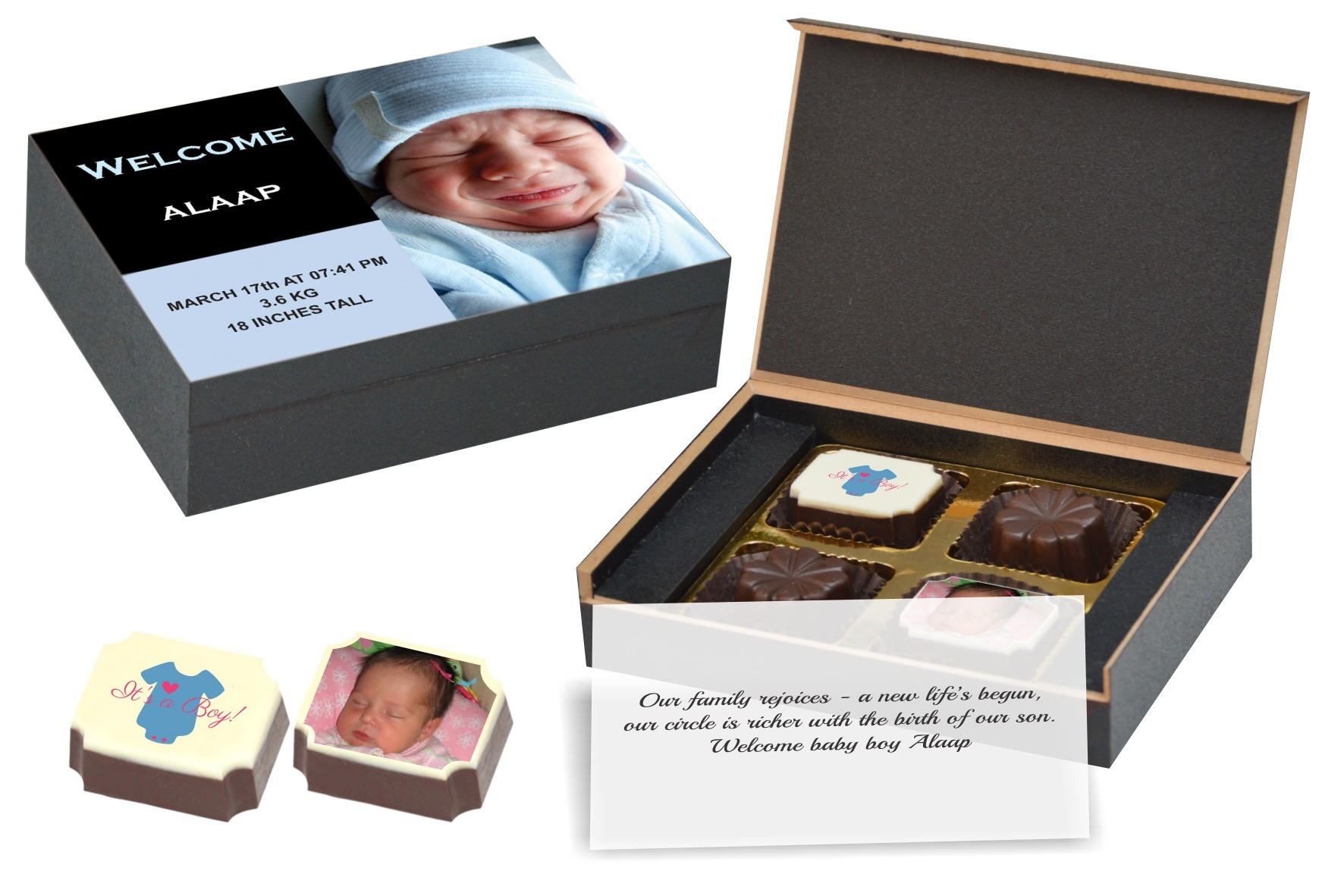 Baby announcement gift box : Birth announcement gifts i new baby