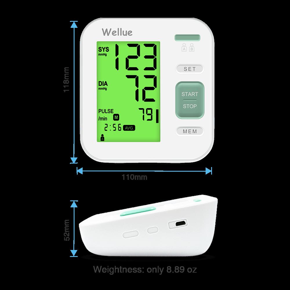 Abmessungen des digitalen Blutdruckmessgeräts
