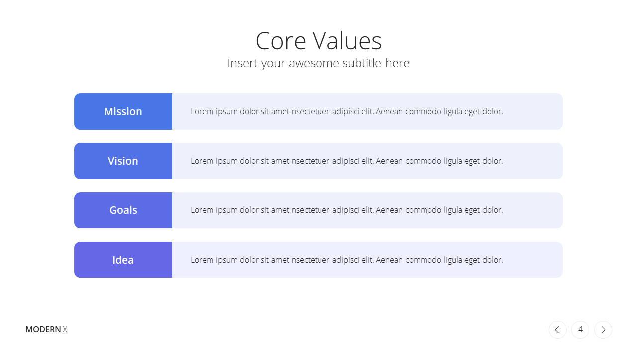 Modern X  Company Profile Presentation Template Core Values