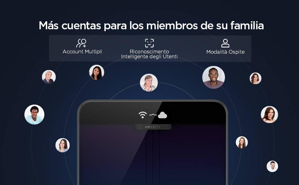 Amazfit Smart Scale - Più account per tutta la famiglia.