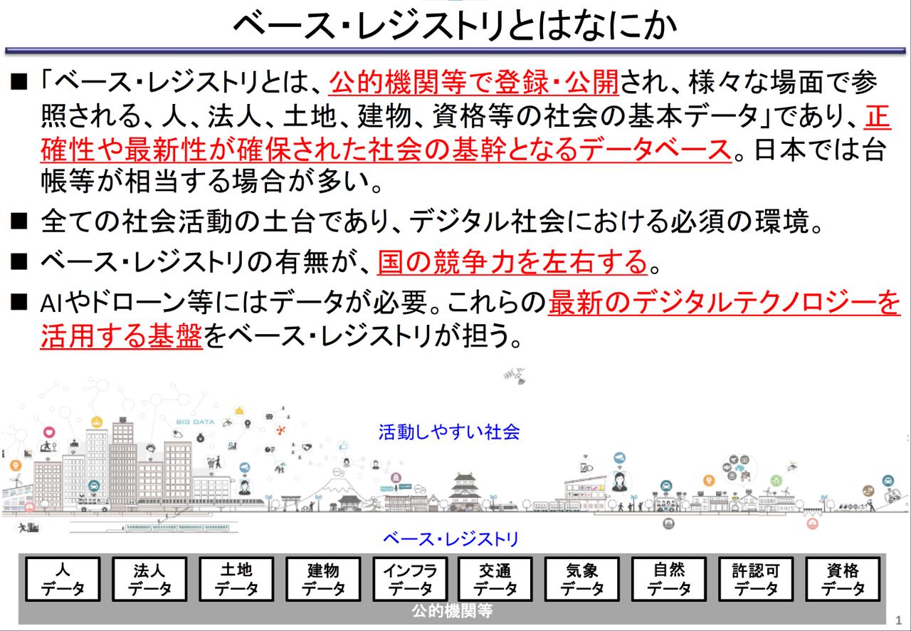 出典:「データ戦略タスクフォース(第1回)「ベース・レジストリの概要」 https://www.kantei.go.jp/jp/singi/it2/dgov/data_strategy_tf/dai1/gijisidai.html