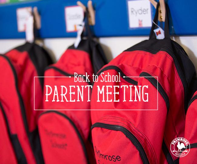 parent meeting orientation back to school