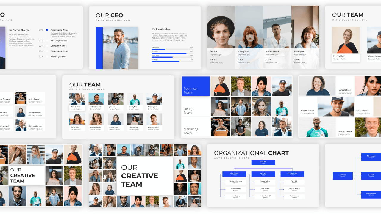 organizational chart presentation template, organizational chart powerpoint template