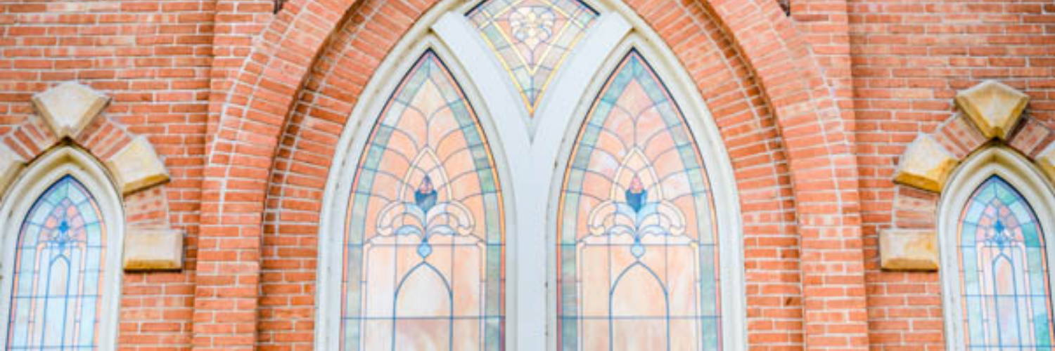 Up close photo of the Provo City Center Temple stained glass windows.