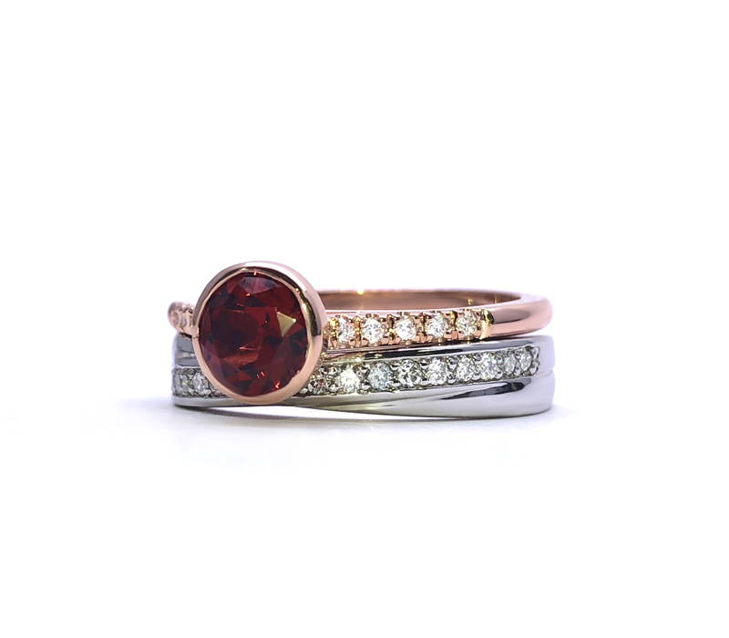 duo garnet and diamonds ring in pink gold and white gold ring paved with diamonds
