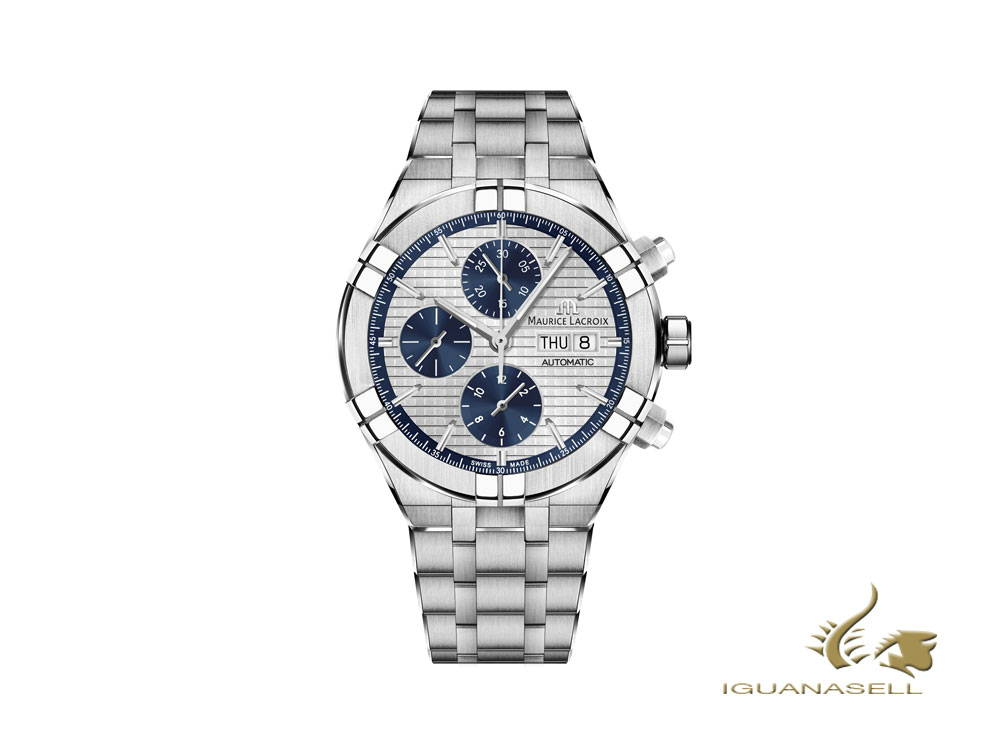 Maurice Lacroix Aikon Chronograph automatic watch, silver and blue