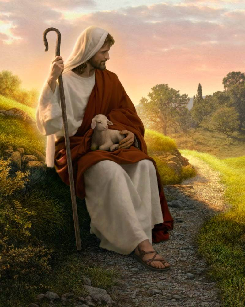 LDS art painting of Jesus sitting with a shepherd's crook in his hand and a lamb in his lap.