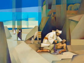 Sacrocubism art painting of the Good Samaritan helping a wounded man while other men continue down the road.