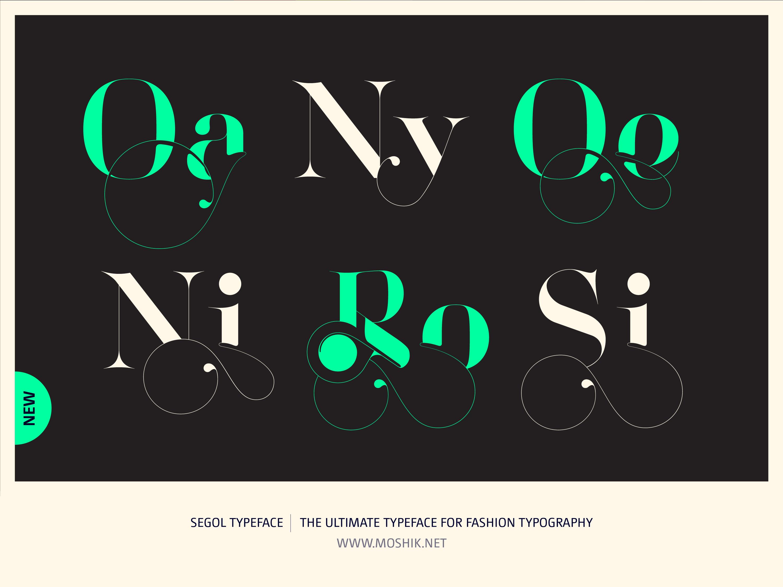 Segol Typeface, Fashion fonts, Fashion logos, Fashion typeface, new font, Moshik Nadav, sexy fonts, Oa, Ny, Oe, Ni, Ro, Si, ligatures