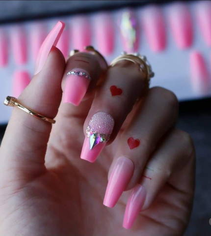 pink press on nails