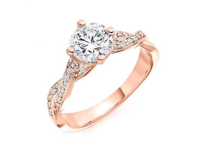Bespoke solitaire and diamond shoulder  engagemet rings - Pobjoy Diamonds in Surrey