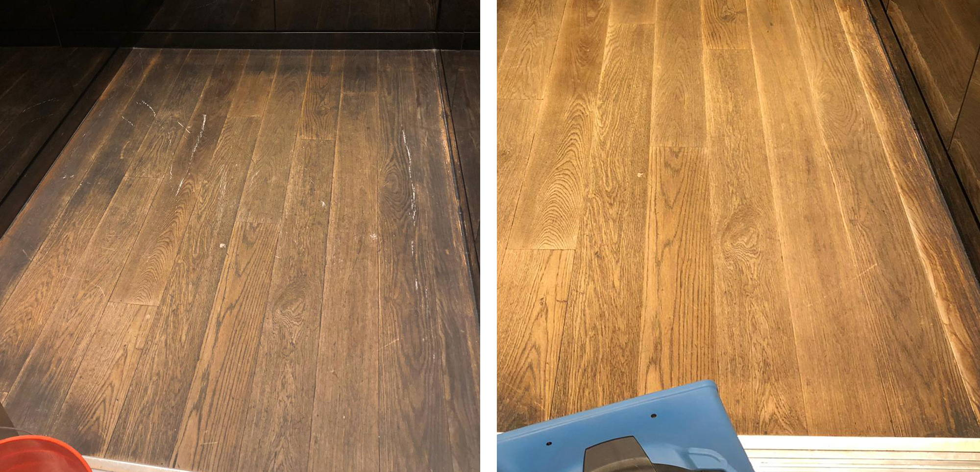Before and after image of the wood flooring inside an elevator at the Hyatt Andaz Hotel