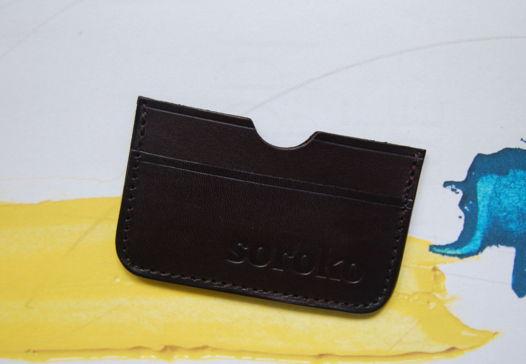 Кожаный холдер Simple Brown из винтажной вощеной кожи