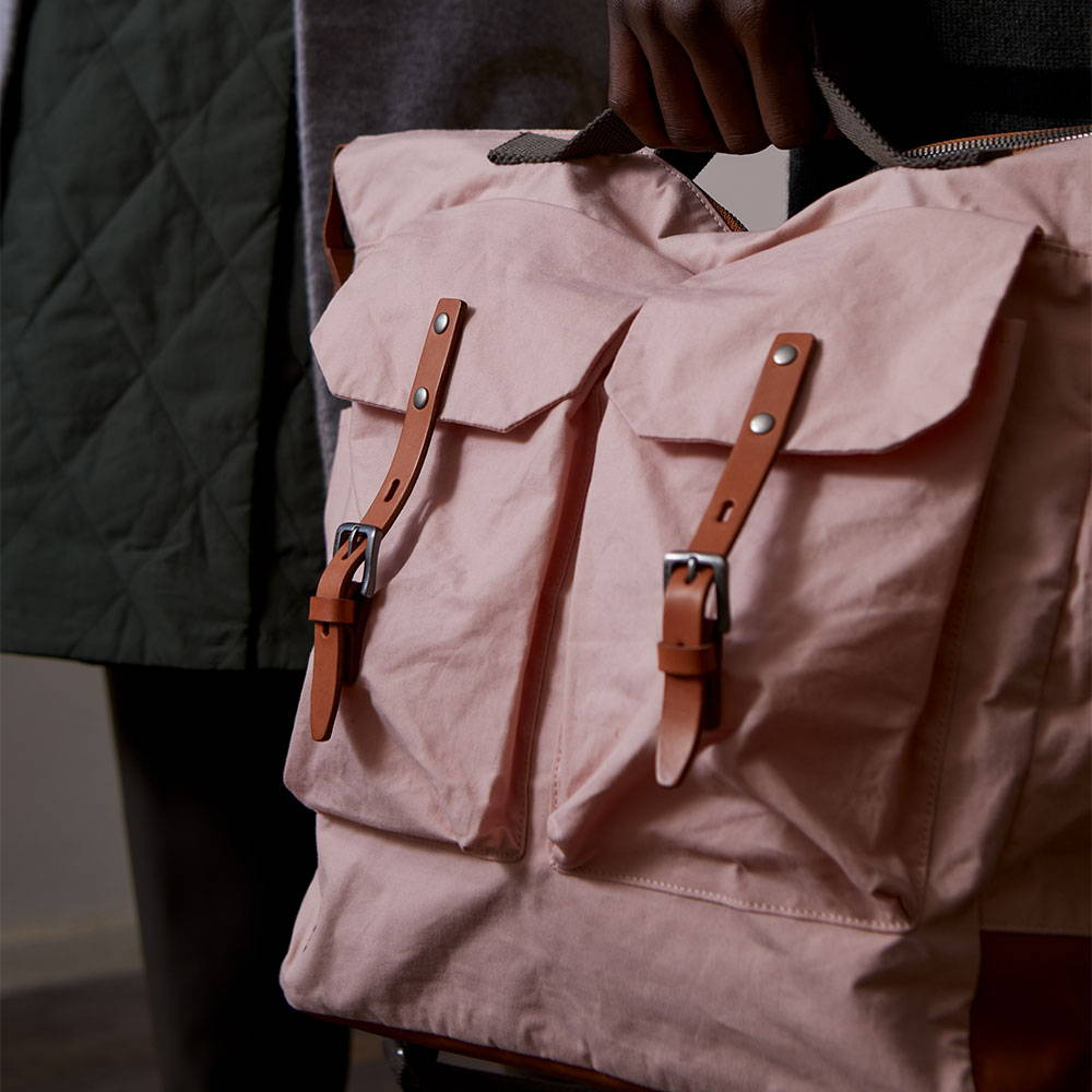 Ally Capellino AW21 Pink Waxed Cotton Frank Backpack