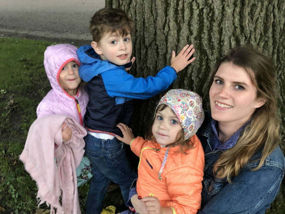 A photo of our current Still Kickin Hero, Rachel, and her three children.