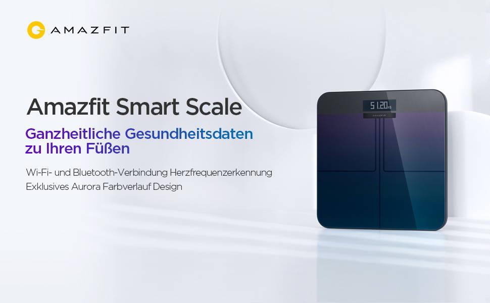 Amazfit Smart Scale - Ganzheitliche Gesundheitsdaten zu Ihren Füßen  Hohe Messungsgenauigkeit | 16 Kennzahlen zur Körpergesundheit | WLAN- und Bluetooth-Verbindung Herzfrequenzmessung im Stehen | Exklusives Aurora-Farbverlaufsdesign