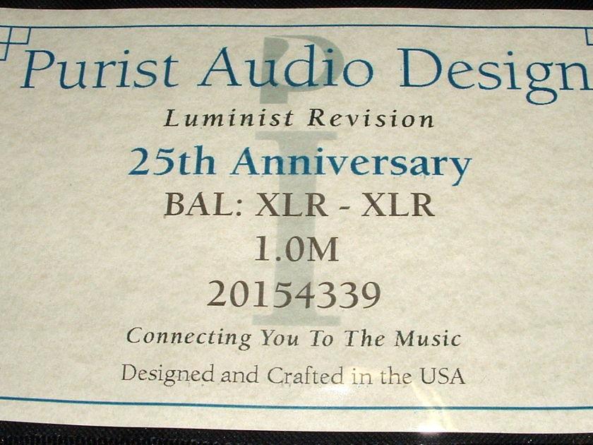 Purist Audio Design 25th Anniversary Luminist Revision 1 meter XLR Interconnect