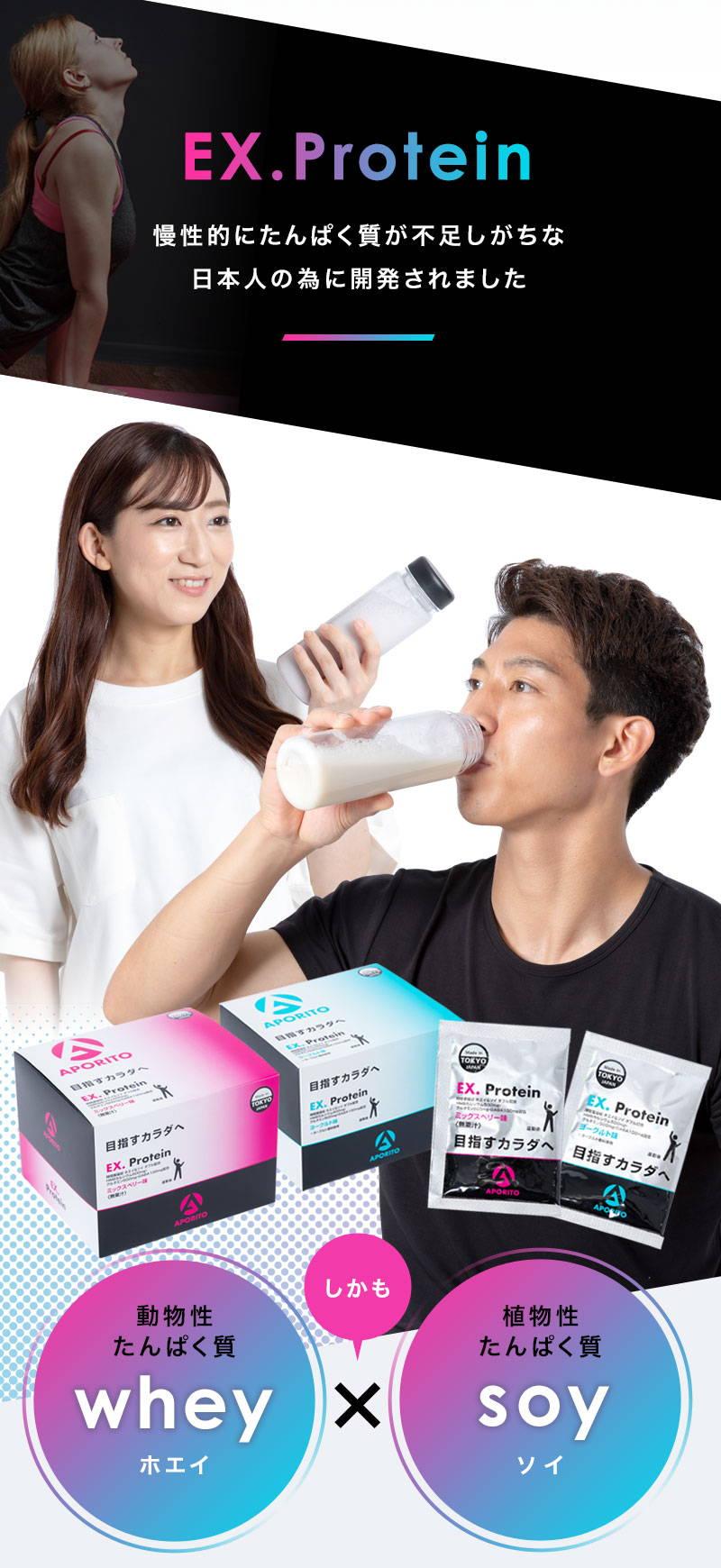 EX.Protein 慢性的にたんぱく質が不足しがちな日本人の為に開発されました 動物性たんぱく質wheyホエイ しかも 植物性たんぱく質soyソイ