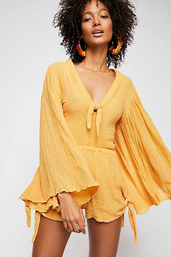 yellow spring romper from free people