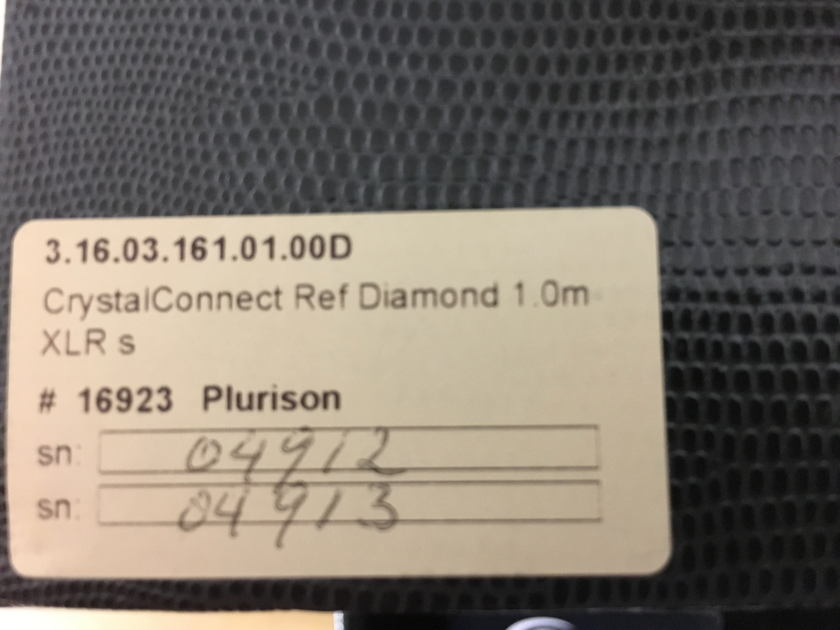 Crystal Cable  CrystalConnect Reference Diamond 1mt. XLR  Price Reduced!!!!