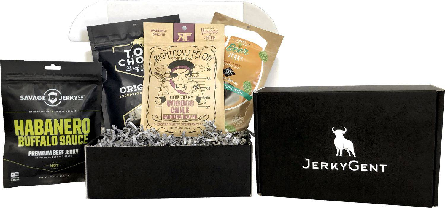 Beef Jerky Subscription Box. 4 bags of handcrafted beef jerky.