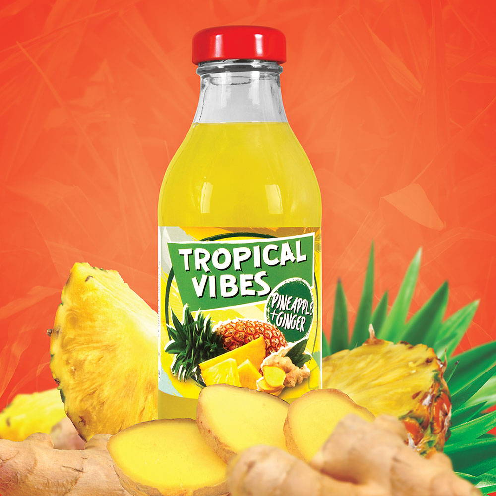 tropical vibes pineapple ginger drink