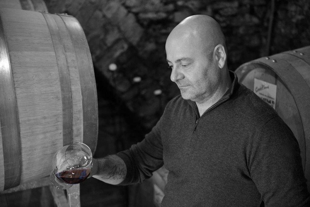 Corrado in action; behind the scenes from the Kiss of Wine Feisty canned Nebbiolo.