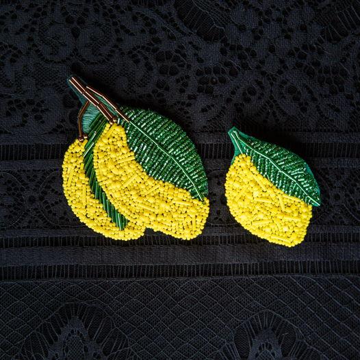 """Брошь вышивка бисером """"Лимон"""""""