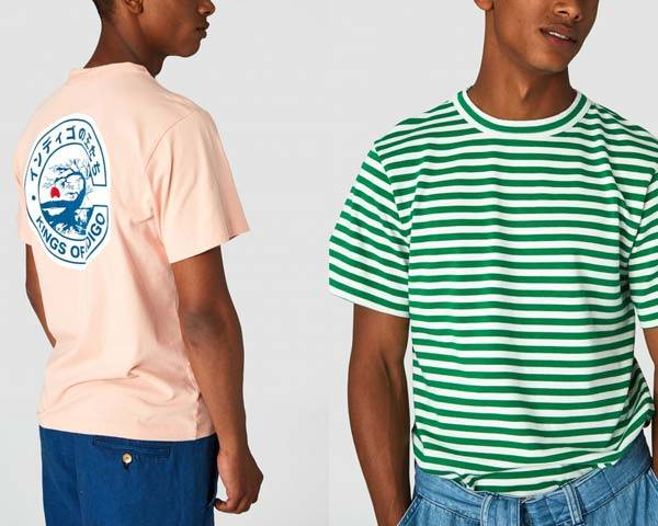 Man wearing organic cotton pink t-shirt with japanese print on reverse and man wearing bright green and white striped organic cotton t-shirt