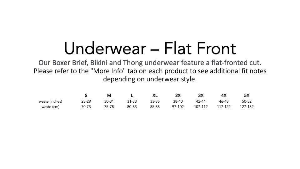 Play Out Underwear Sizing Chart for Boxer Briefs, Bikinis, and Thongs.