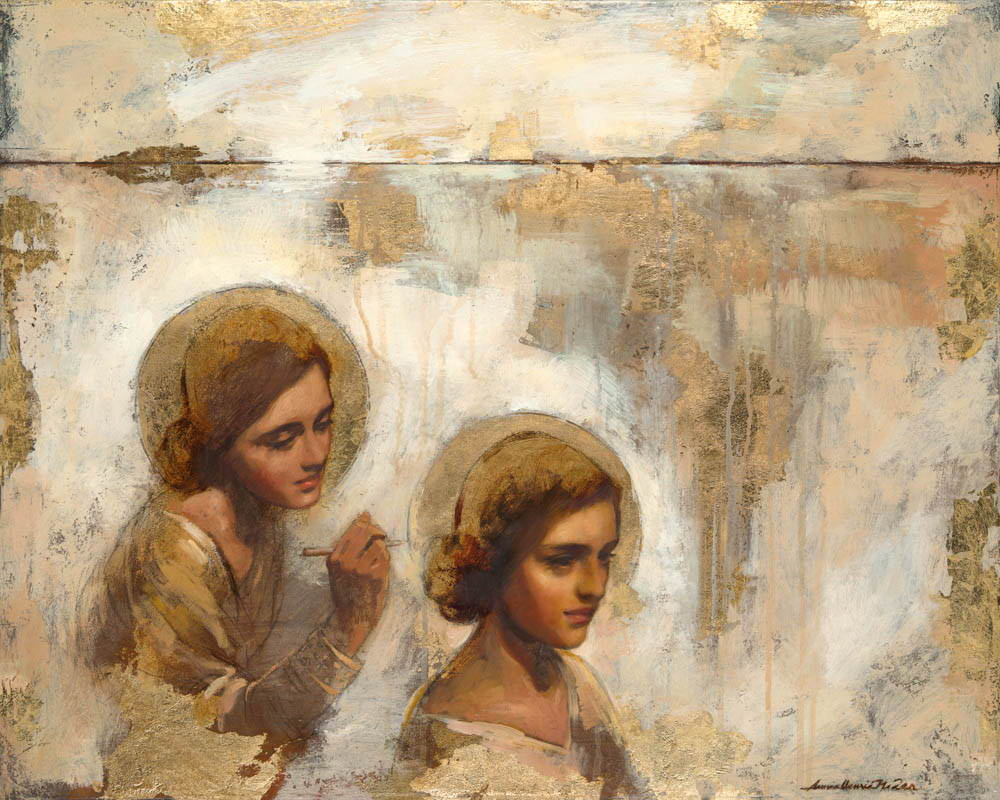 An angel traces a halo around a woman's head as she is deep in thought.